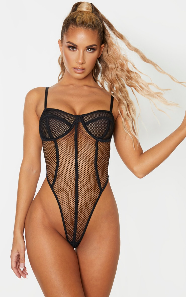 Black Contrast Fishnet High Leg Underwired Body 1