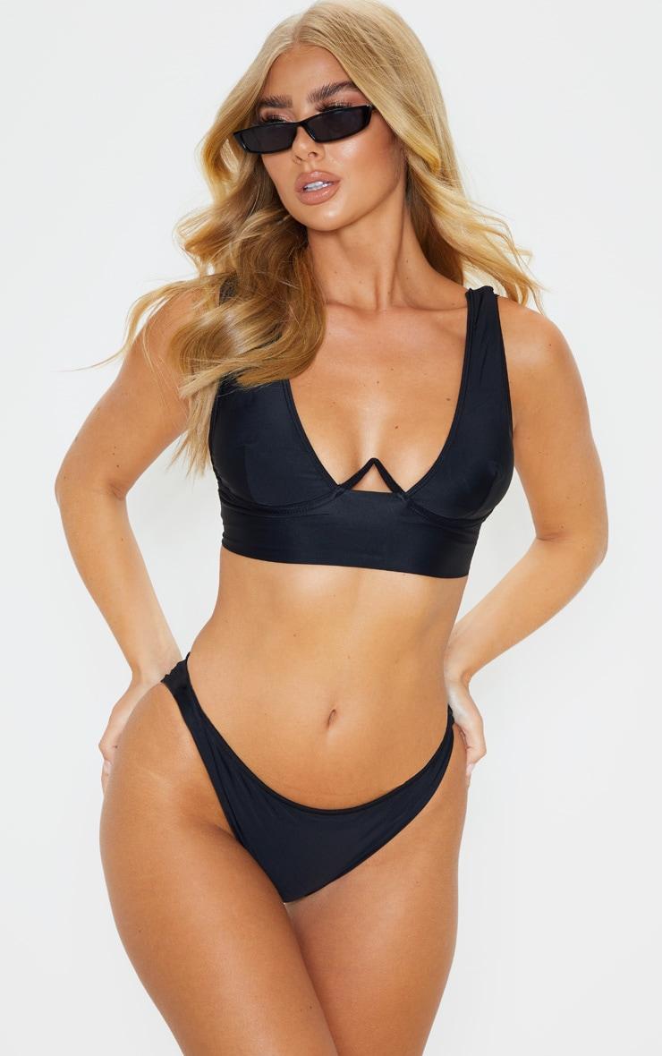Black V Wire Plunge Bikini Top 1