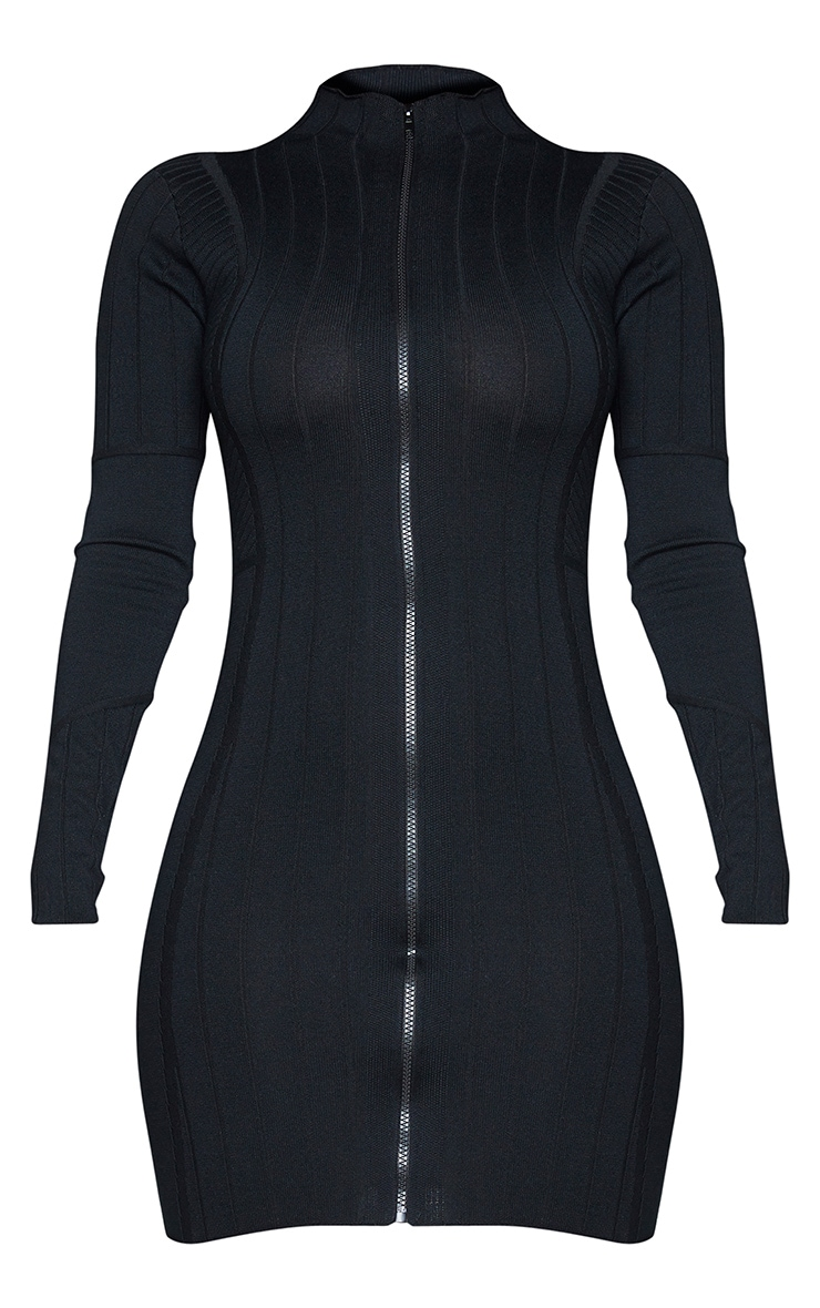 Black Ribbed Zipped Knitted Mini Dress 5