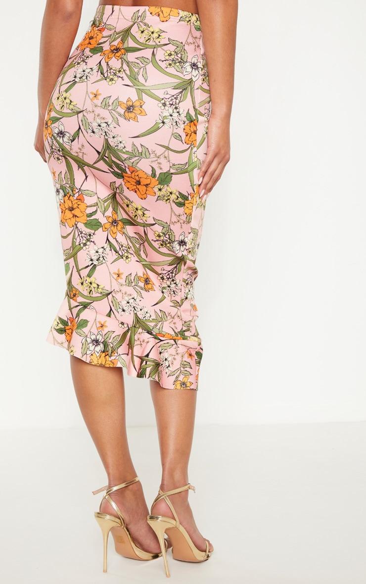 Pink Scuba Frill Hem Midi Skirt 4
