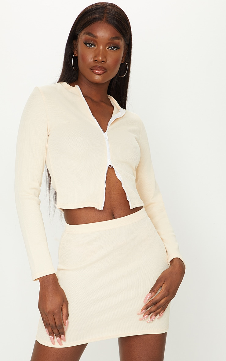Tall Stone Structured Ribbed Mini Skirt 4