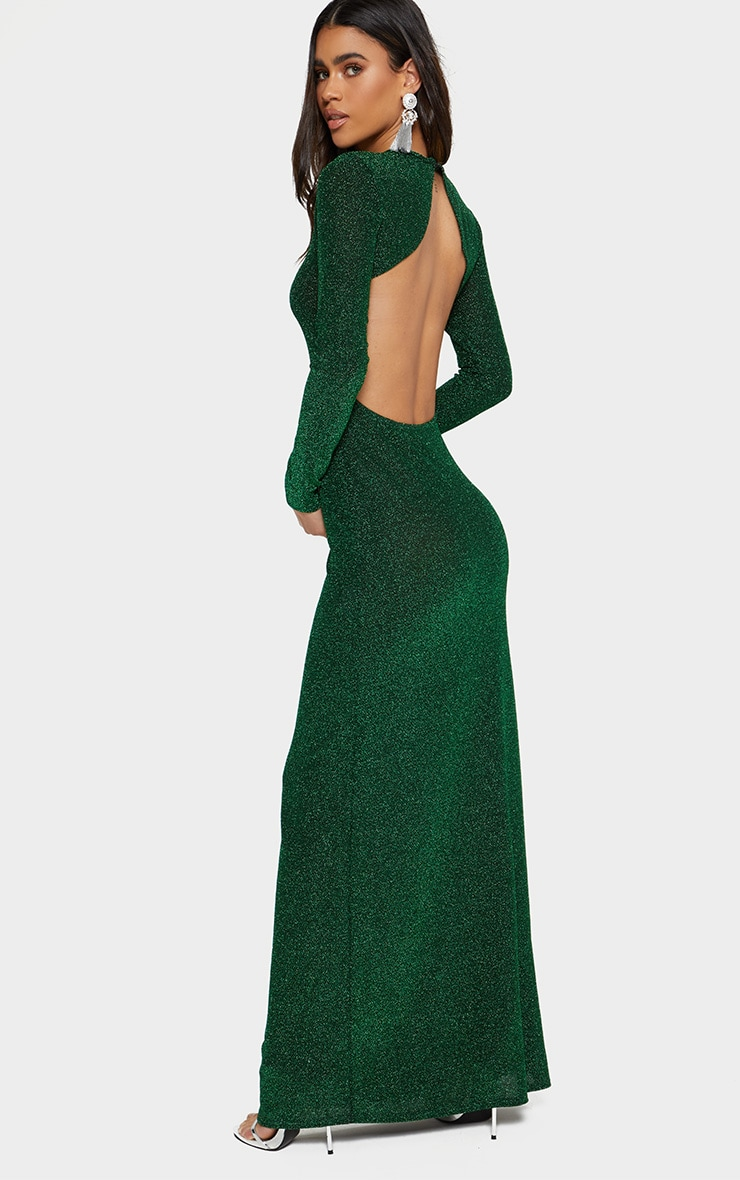 Green Glitter Long Sleeve High Neck Backless Maxi Dress