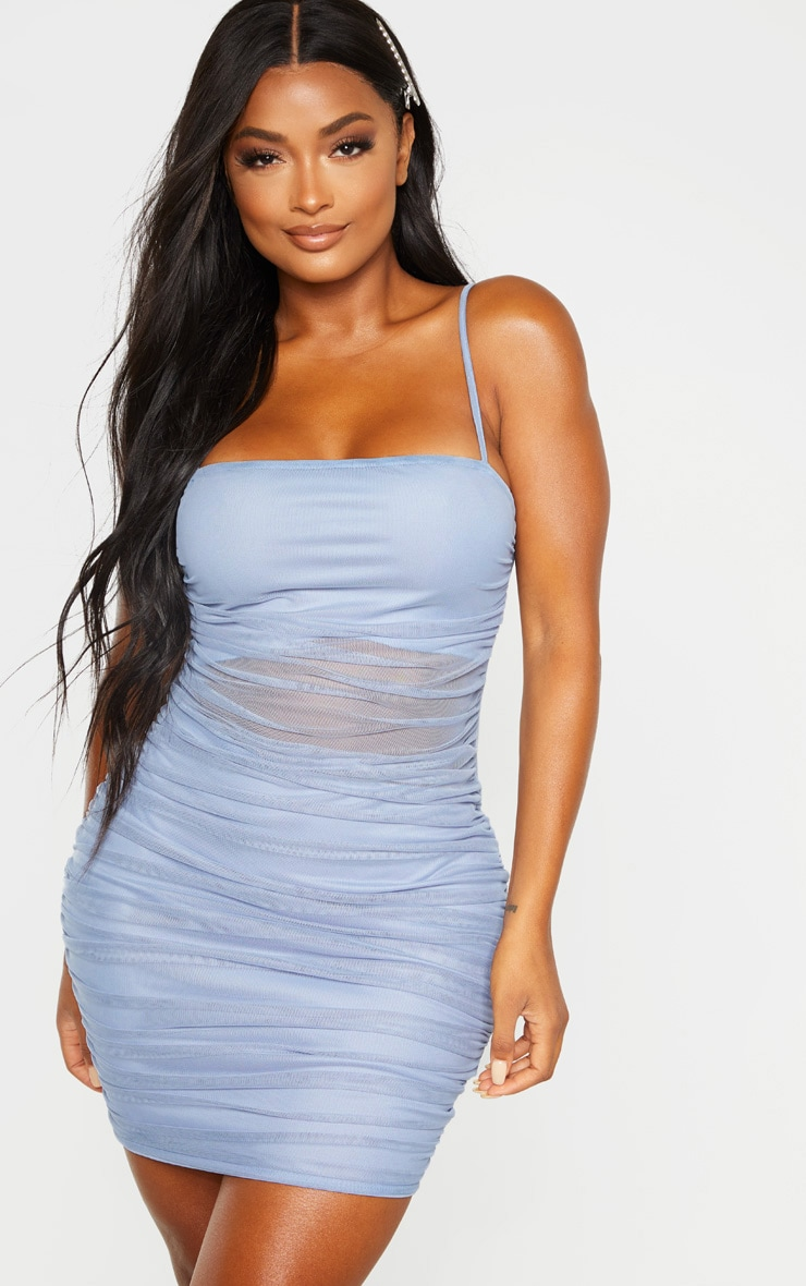 Shape Dusty Blue Strappy Ruched Mesh Cut Out Dress 1