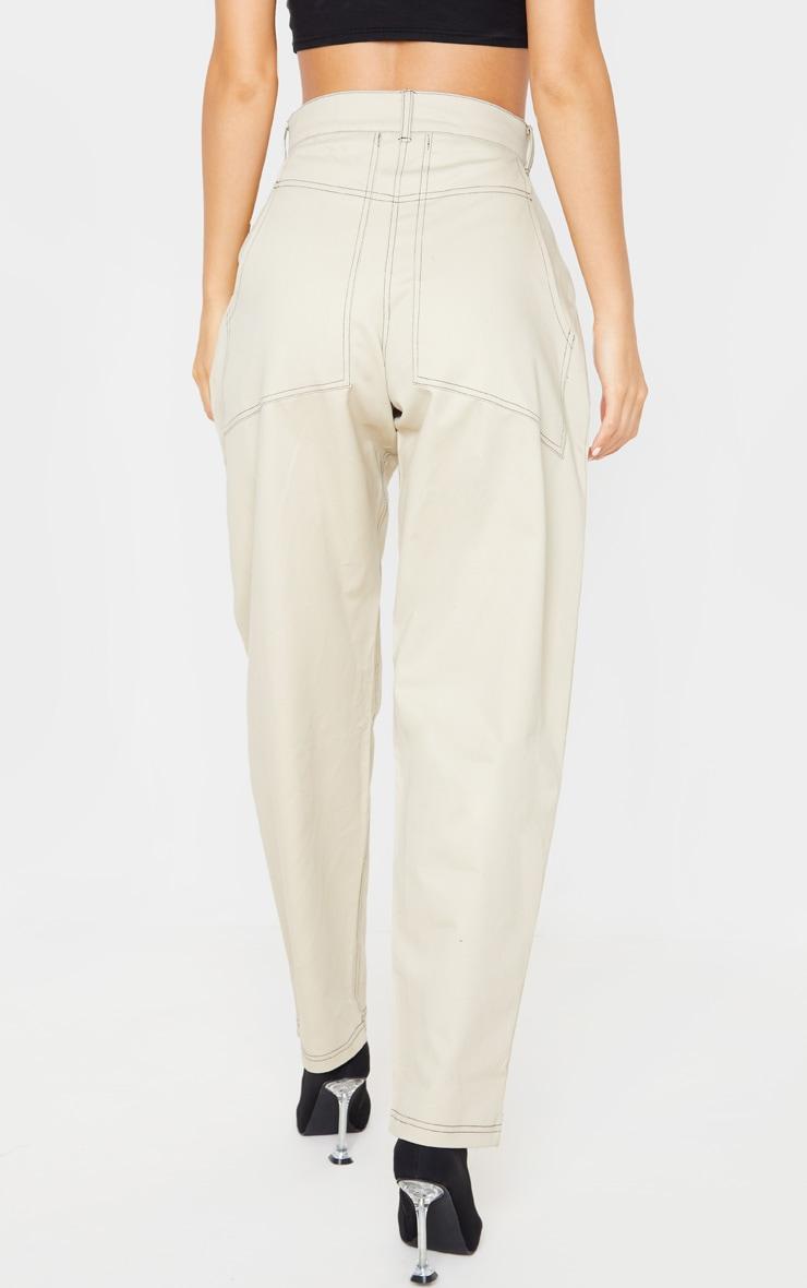 Stone Contrast Stitch Cargo Trousers 4