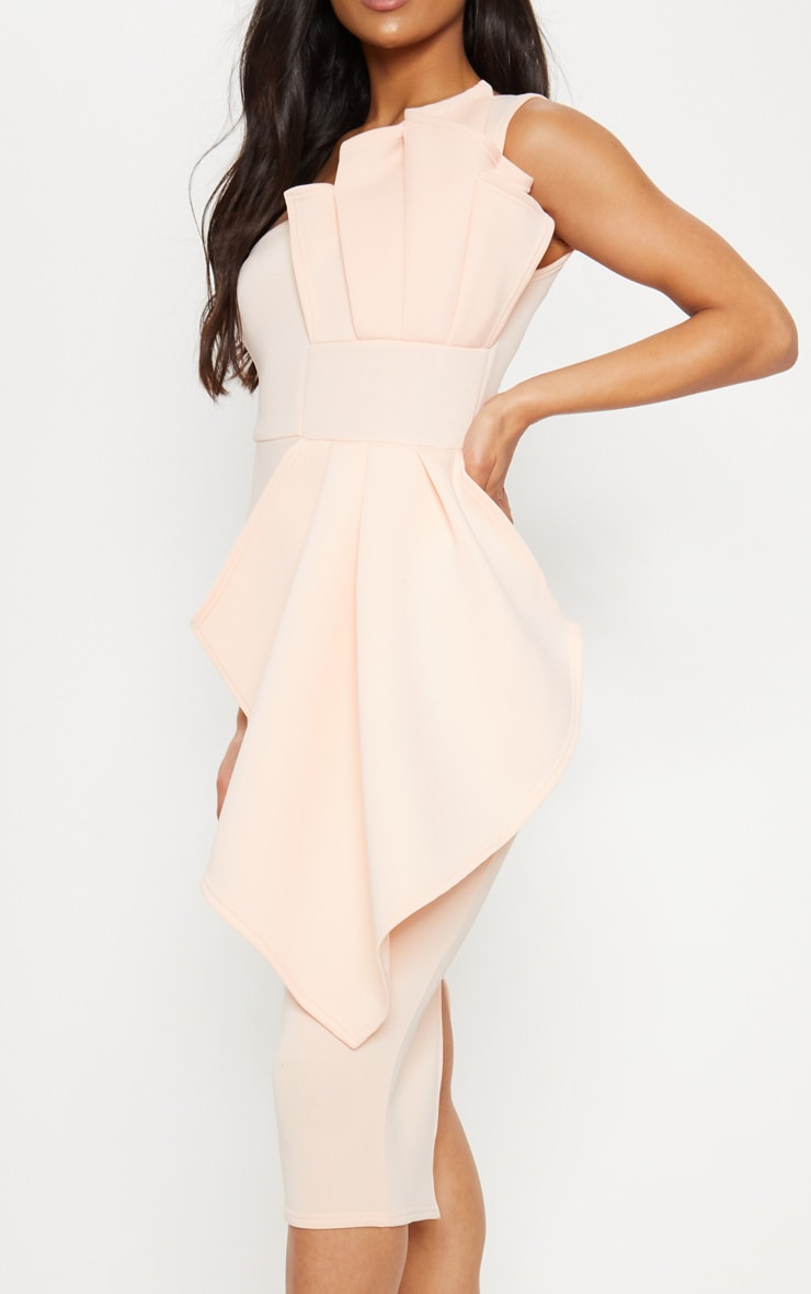 Nude One Shoulder Pleated Detail Midi Dress 5