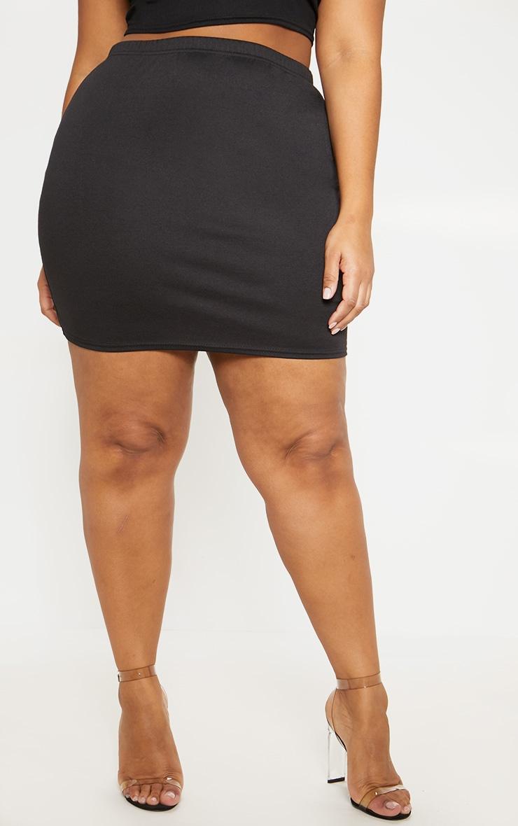 Plus Black Second Skin Ponte Mini Skirt 2