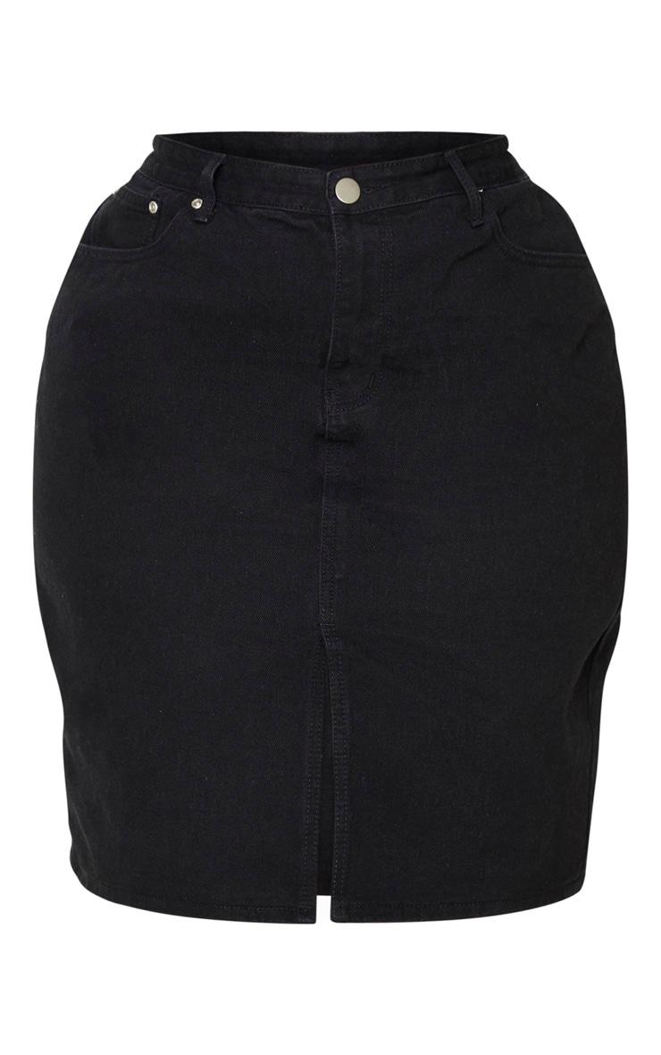 Plus Black Slit Detail Denim Midi Skirt 3