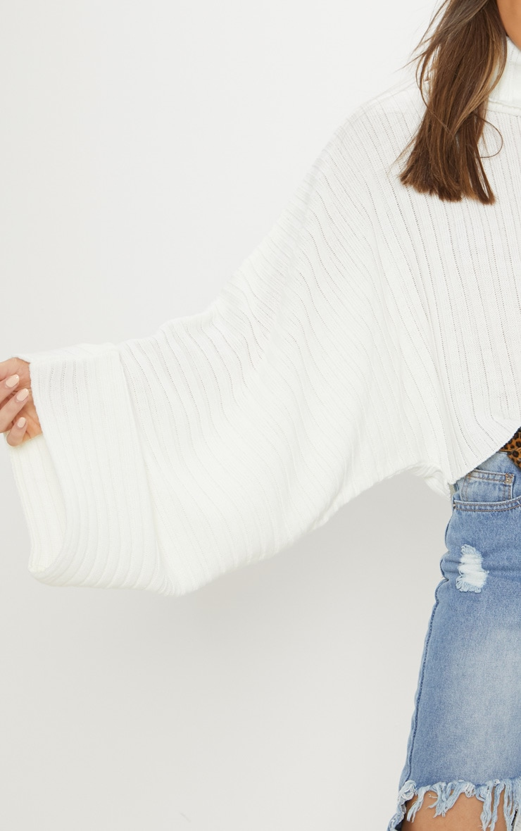 Cream Ribbed Knit High Neck Sweater  6