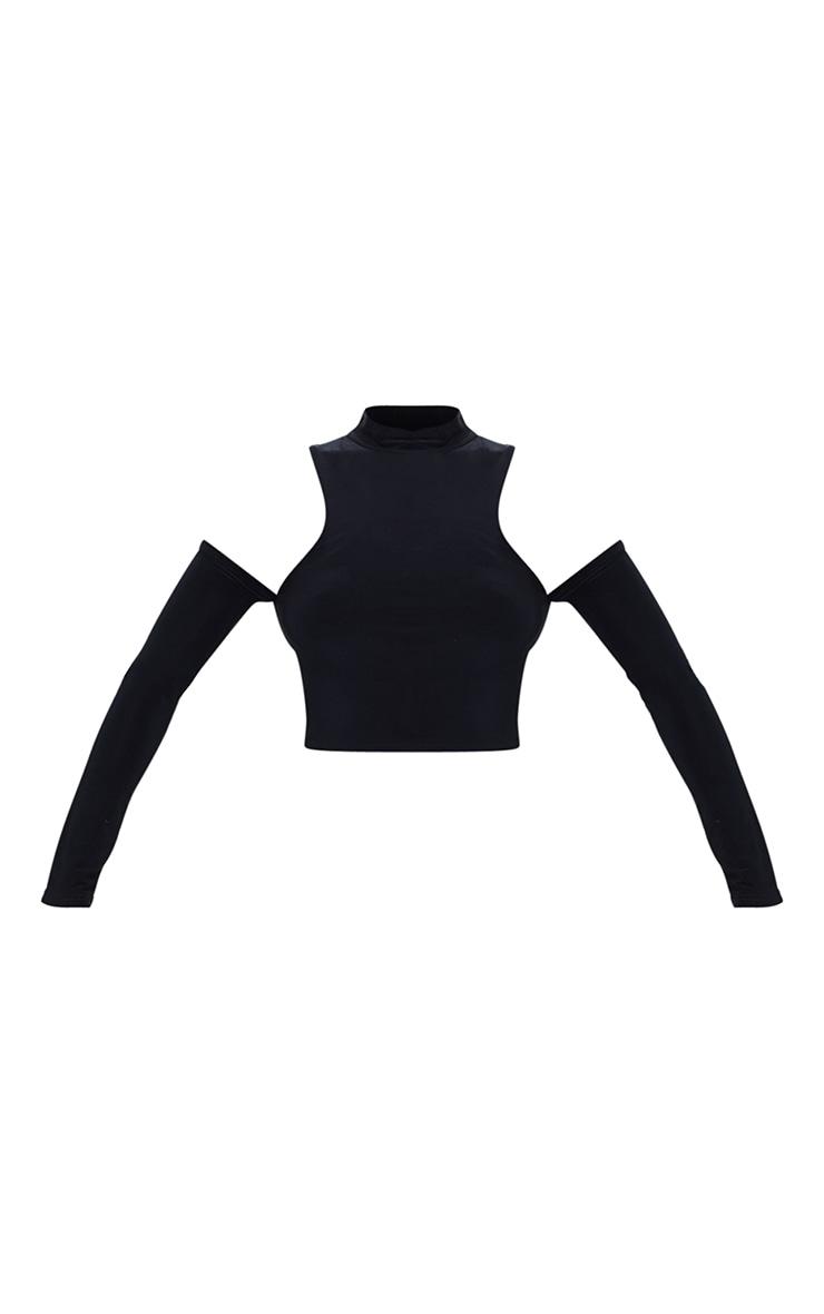 Black Slinky Cold Shoulder Long Sleeve Crop Top 5