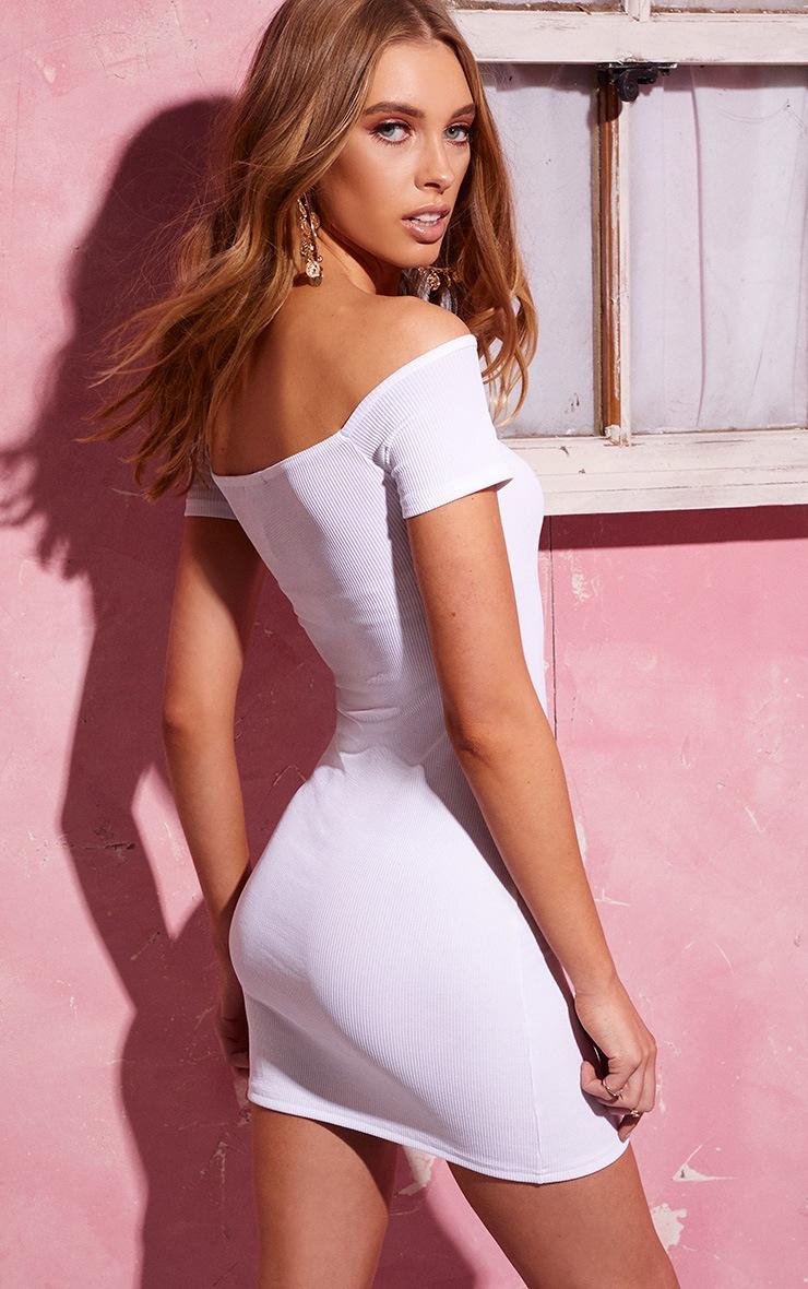White Bardot Tie Detail Ribbed Bodycon Dress 2