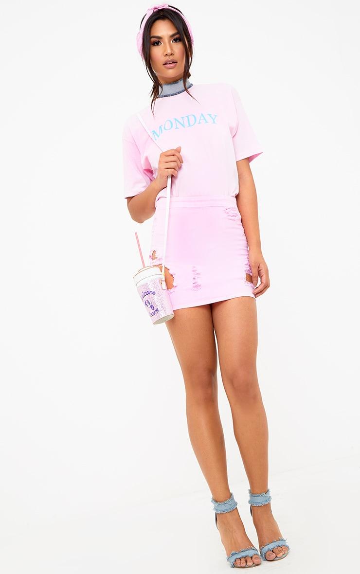 Pink MONDAY Slogan T Shirt 4