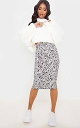 White Leopard Print Rib Midi Skirt 1
