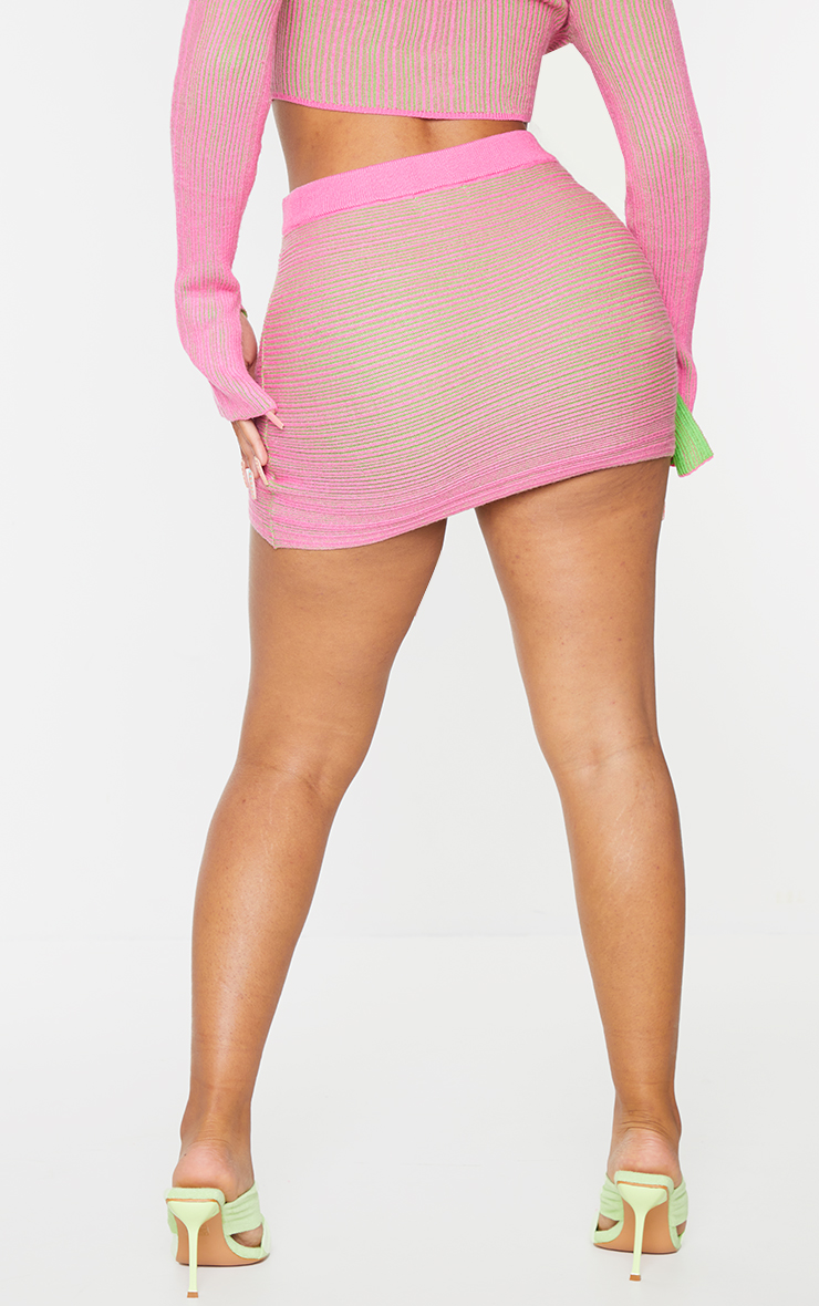 Shape Hot Pink Contrast Knit Ruched Front Bodycon Skirt 3