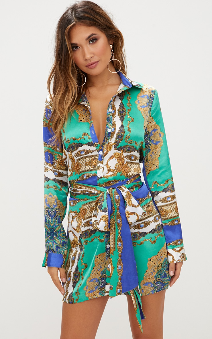 Green Satin Scarf Print Tie Waist Shirt Dress 1