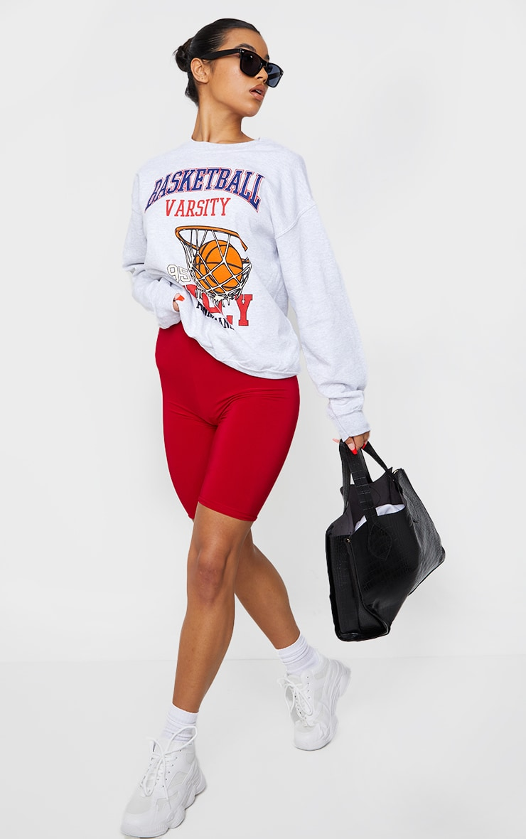 Grey Marl Basketball Varsity Slogan Sweatshirt 3