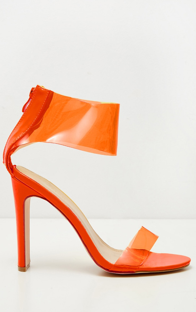 Orange Flat Heel Clear Cuff Strappy Sandal 3