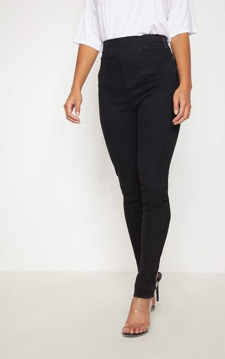 Petite Black Seam Detail Skinny Jeans 2