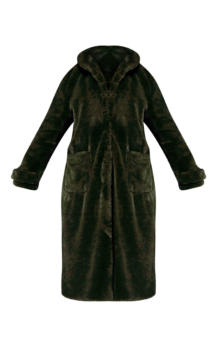 Khaki Hooded Faux Fur Military Coat 5
