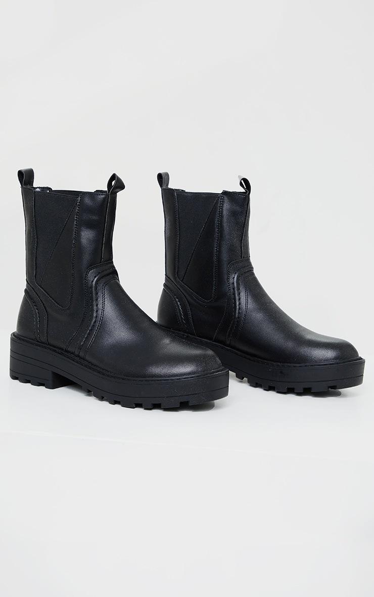 Black Matte PU Chunky Sole Asymmetric Panel Chunky Ankle Boot 3