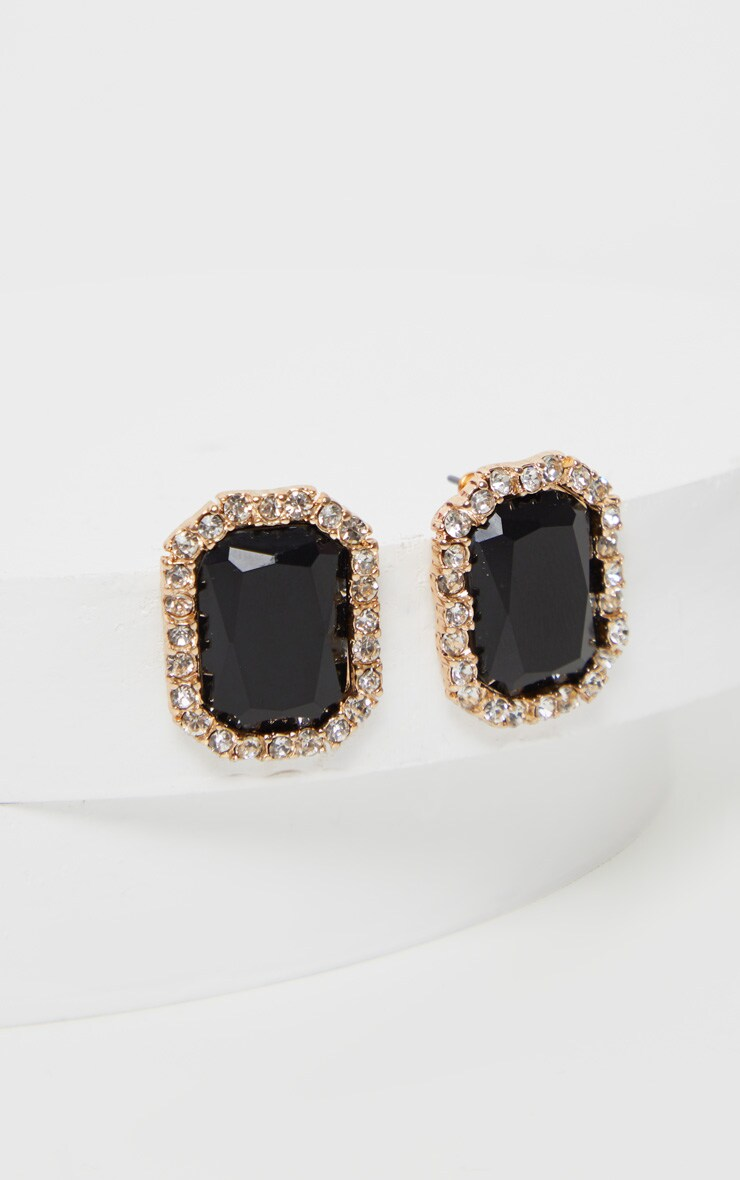 Black Crystal Diamante Border Larger Stud Earrings 2