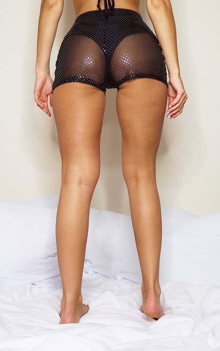 Black Mesh Polka Dot Hot Pants 3