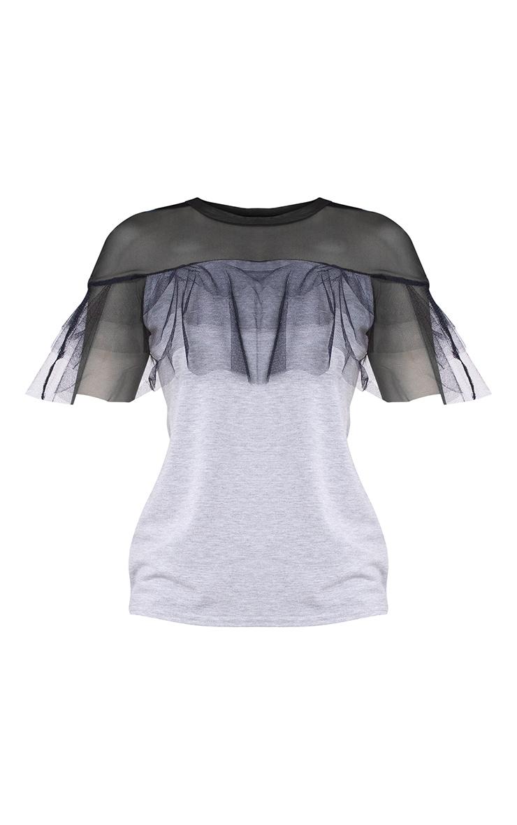 Grey Mesh Tulle Frill T Shirt 3