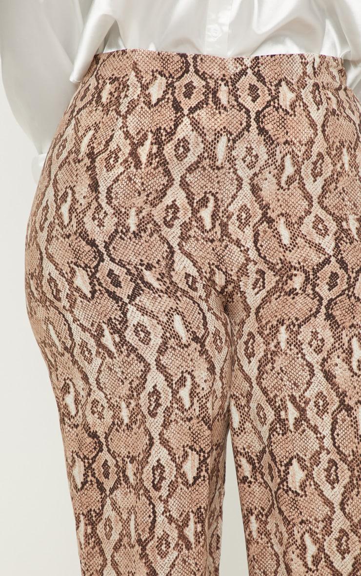 Plus Taupe Snake Print Wide Leg Pants  5