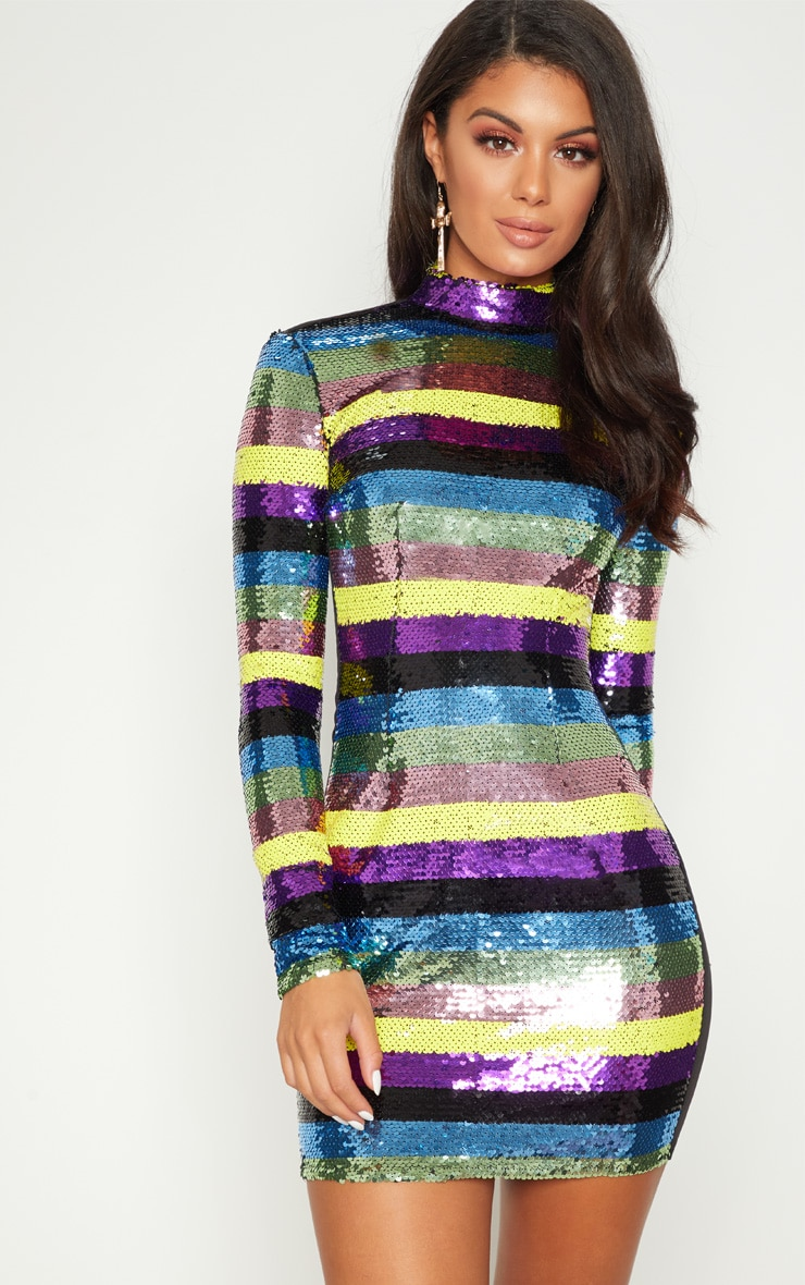 7f044409d9a975 Multi Sequin High Neck Long Sleeve Bodycon Dress image 1