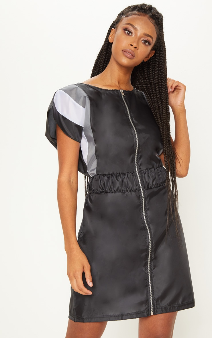Black Zip Front Shell Shift Dress