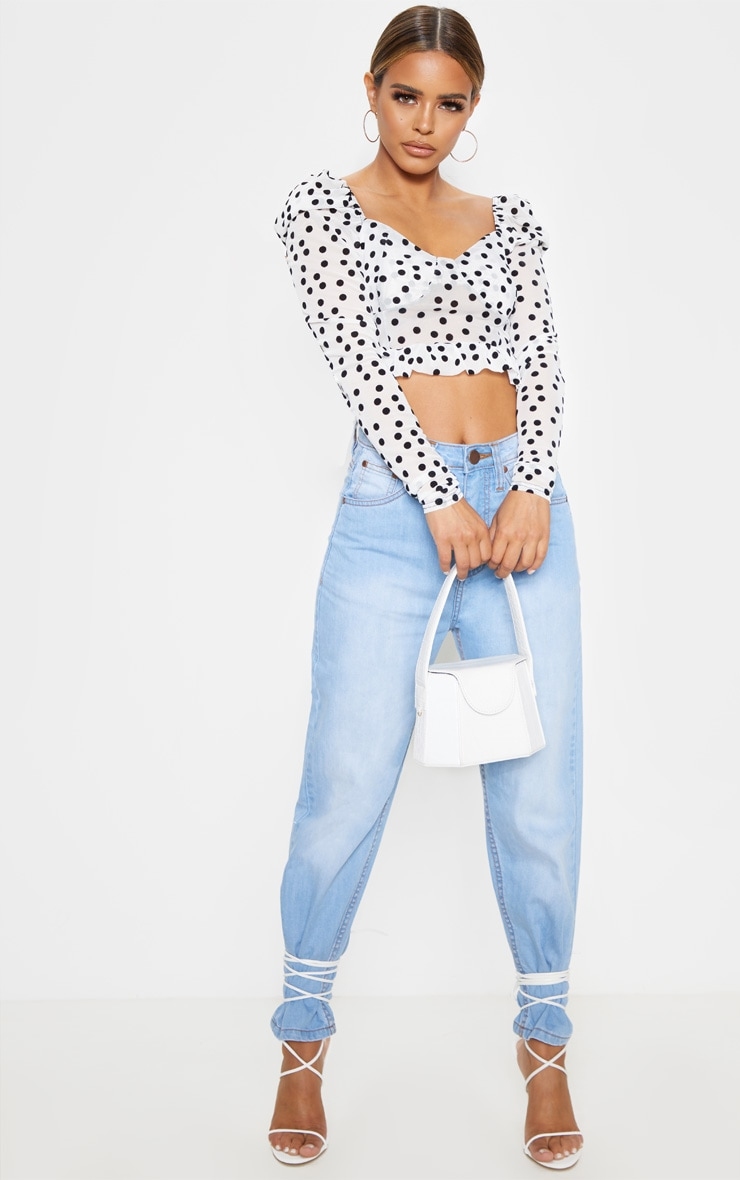 Petite White Polka Dot Mesh Long Sleeve Top 4