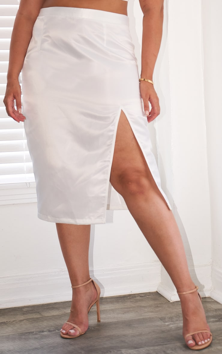 Plus White Satin Split Detailed Midi Skirt 2