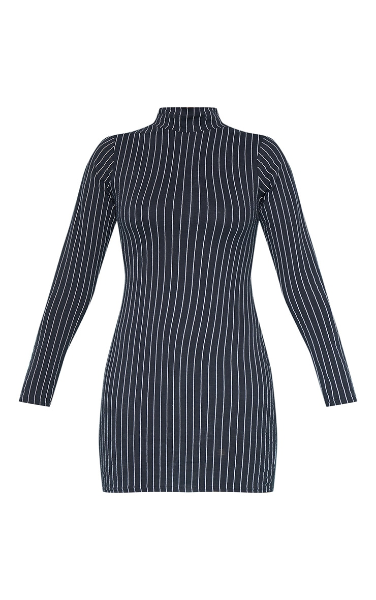 RECYCLED Black Pinstripe Roll Neck Long Sleeve Bodycon Dress 3