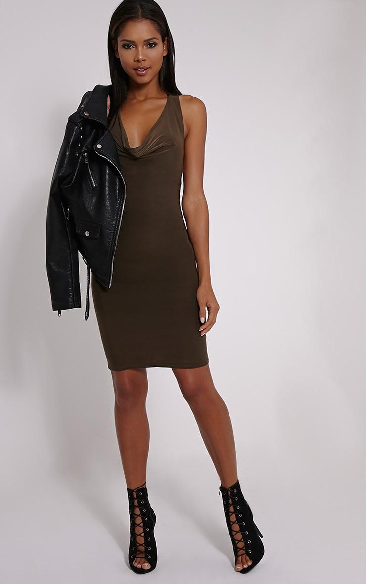 Sammia Khaki Racer Back Mini Dress 3