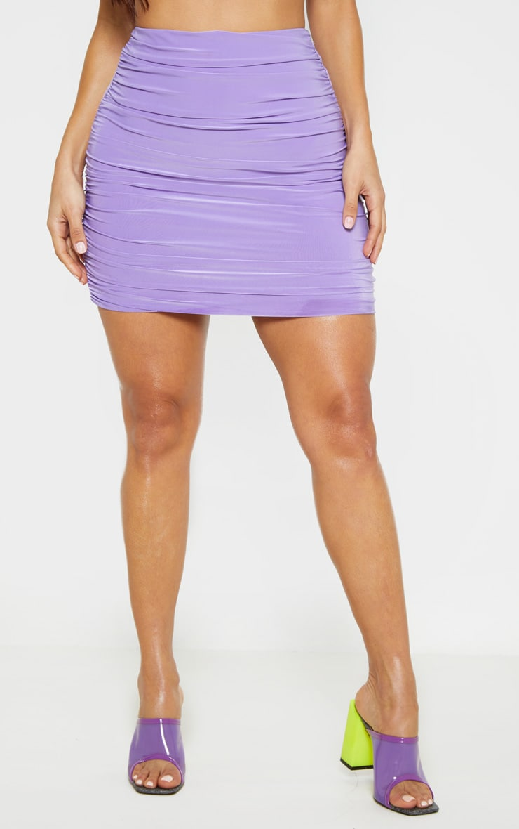 Lilac Slinky Ruched Side Mini Skirt 2