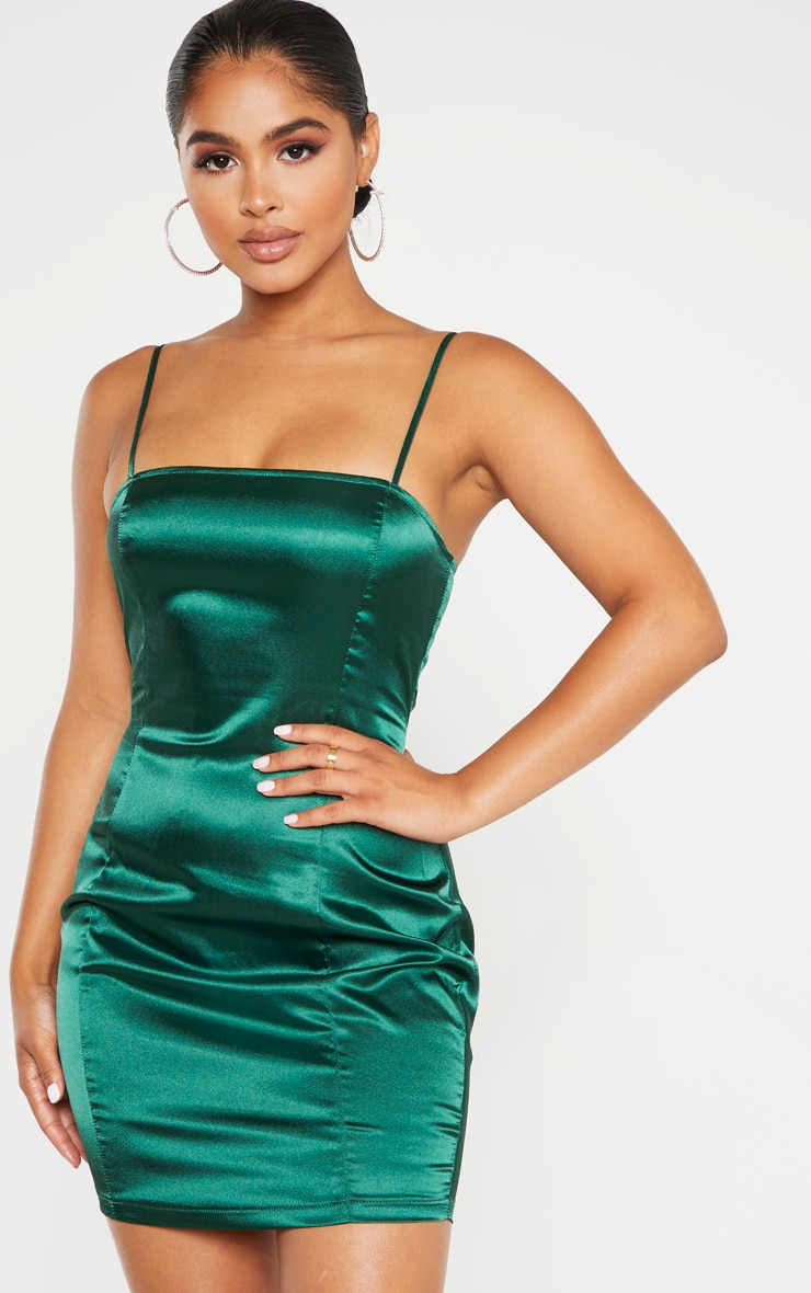 Petite Emerald Green Satin Strappy Straight Neck Bodycon Dress 1