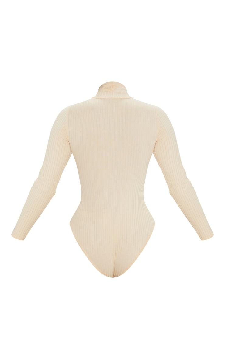 Cream Rib Roll Neck Long Sleeve Bodysuit 4