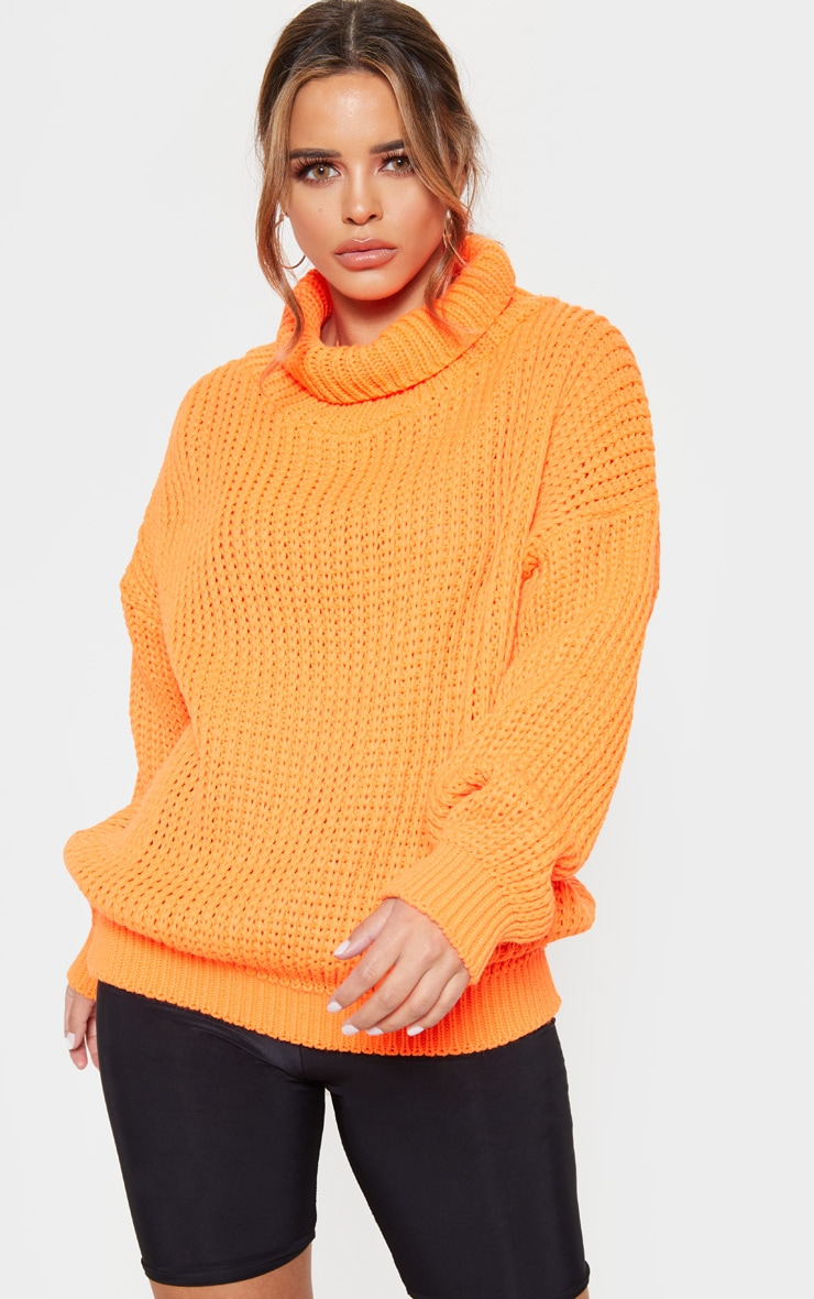 Petite Neon Orange Roll Neck Oversized Chunky Knit Jumper 4