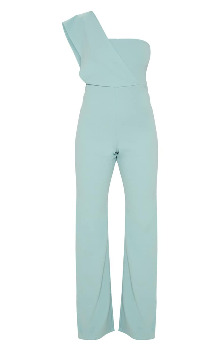 Petite Mint Drape One Shoulder Jumpsuit 3