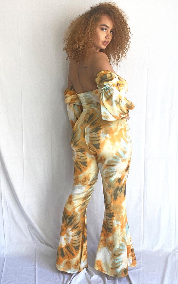 Plus Orange Tie Dye Print Bardot Cut Out Jumpsuit 2