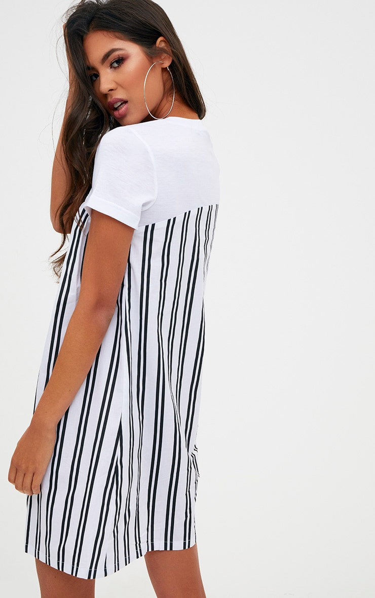 Black Striped T Shirt Dress 2