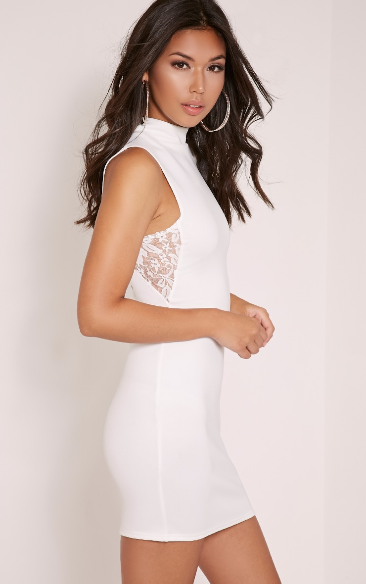 Hayley Cream Lace Side Bodycon Dress 1