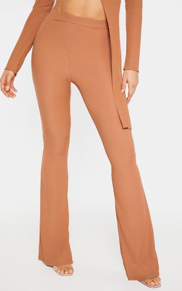Tall Camel Ribbed Flared Pants 2
