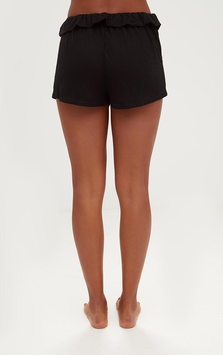 Black Ruffle Edge Drawstring Shorts 4