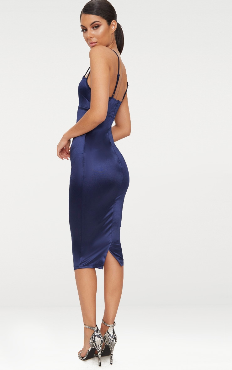 Navy Strappy Satin Mesh Panel Detail Midi Dress Pretty Little Thing Official Site Cheap Price Sast Online In China Cheap Price Free Shipping 100% Original mtaB9