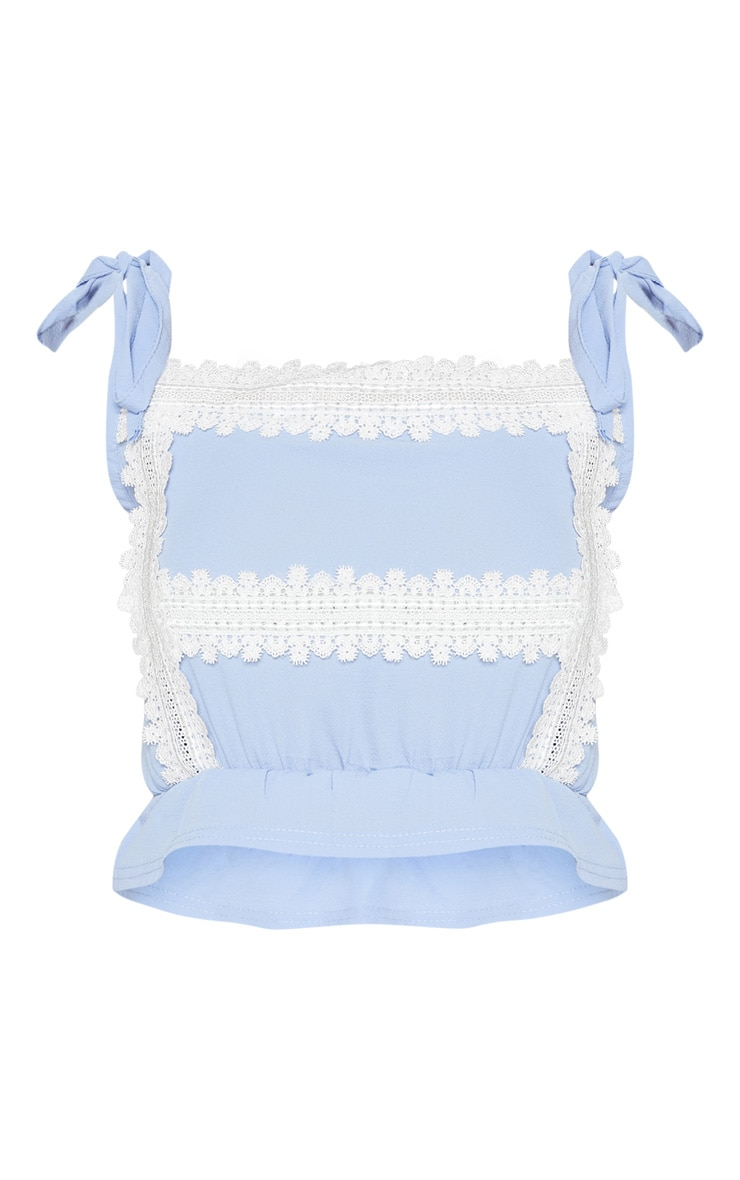 Pale Blue Lace Detail Tie Strap Crop Top 3