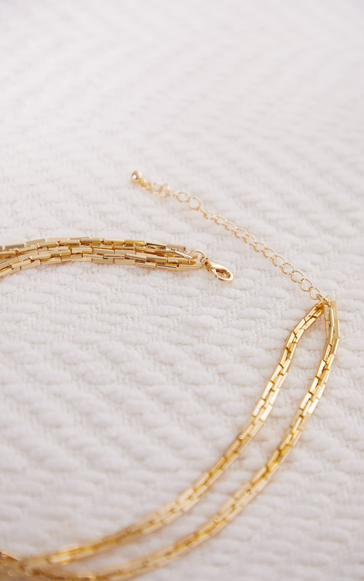 Collier doré à double chaîne et maillons carrés 3