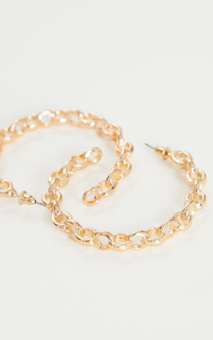 Gold Oversized Chain Twist Earrings 3