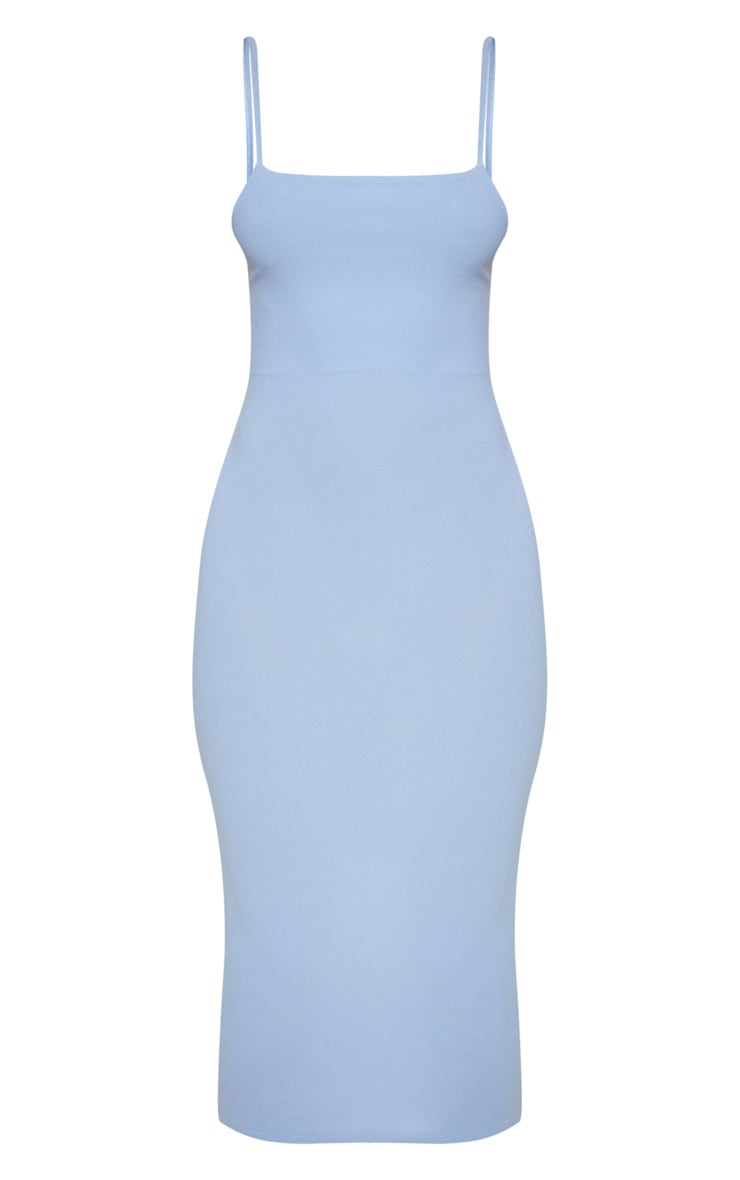 Robe mi-longue bleu clair à fines bretelles 3