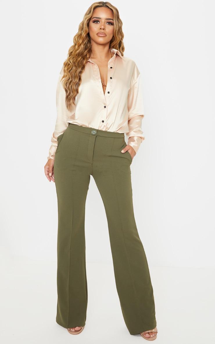Petite Khaki Pleat Detail Trouser 1