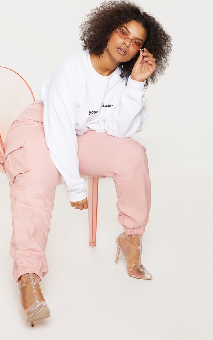 Plus Dusty Pink Pocket Detail Cargo Trousers 1